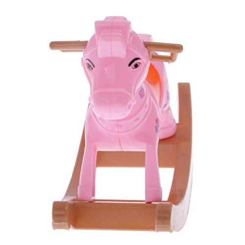 MagiDeal Plastica Cavallo A Dondolo Cockhorse Accessori per Barbie Dolls Kelly Decorazione Casa Delle Bambole, Casuale Colore