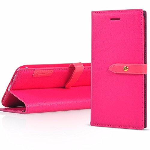 UKDANDANWEI Apple iPhone 5s Housse Etui de Protection 2017 Neuf Design Luxe Ultra Slim Mince Pure Leather Pu Case avec Dragonne Corde Flip Wallet Protective Case Cover avec Fonction Stand et Fentes de Rose vif