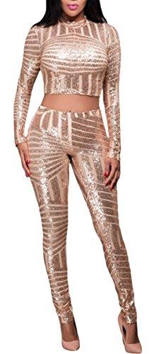 La Vogue Ensemble Femme Pantalon Et Haut Bandage Paillette Soirée Bal Or