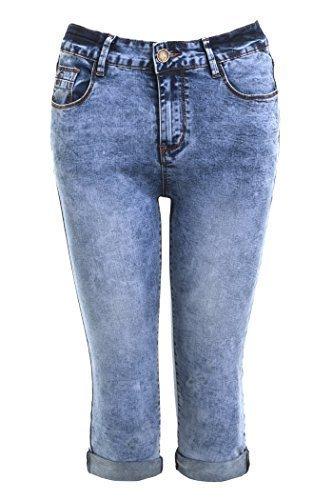 neu Damen Zigaretten Denim Pedal Pusher Shorts Capri Größe 8 - 16 - Denim Blau, 36 -