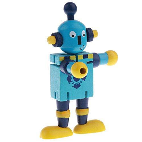 Homyl 1 Stück Kinder Holzpuppen Bewegliche Roboter Modell Spielzeug Festivalgeschenk und Hauptdekoration - Blau