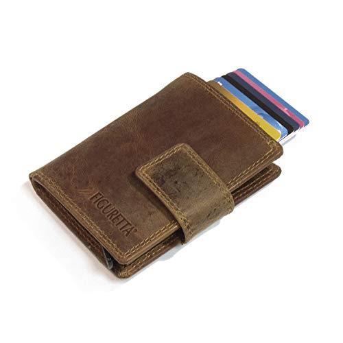 Figuretta Leder Kreditkartenetui mit Banknoten- und Münzfach - Geldbörse Slim Wallet Portmonee - RFID Schutz - Hunter Braun (Geldbörse Münzfach Geldbörse)