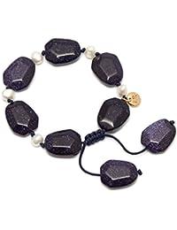 Lola Rose Orient Haze Nugget Blue Sandstone White Pearl Bracelet of Length 7-10cm