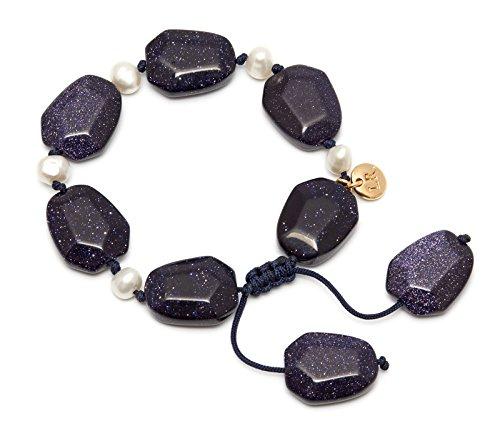 mainline-orient-haze-nugget-blue-sandstone-white-pearl-bracelet-of-length-7-10cm