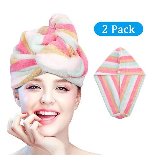 esafio Turban Handtuch,Kopfhandtuch mit Knopf Mikrofaser Haarturban Schnell Trocknend (Regenbogenfarbe,2 Stück, anthrazit) Haar-turban