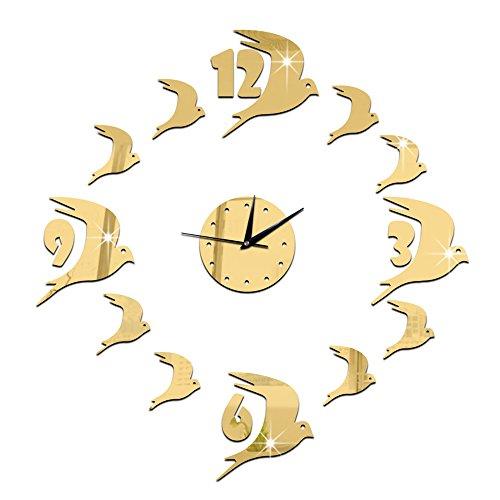 Forepin® Senza Cornice Orologio da Parete Deluxe Autoadesivo della Parete Orologio Vetro Acrilico Specchio Decal Effect Adesivi Murales per Decorazione della Casa e l'ufficio Design Moderno con Motivo Rondini - Oro