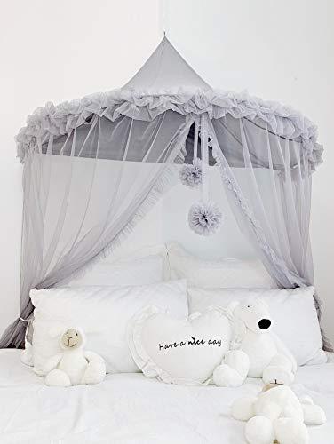 Moustiquaire Grise de Lit Bébé Ciel Baldaquin Rideaux de Lit Tente de Lit Enfant Fille Garcon Cadeaux Decoration Chambre BNTE001