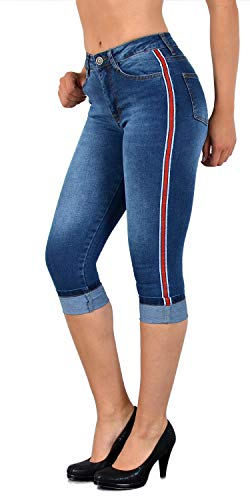 ESRA Damen Capri Jeans Hose mit Seitenstreifen Hoch Bund Caprihose Kurze Jeans Hose mit Streifen bis Übergröße J140