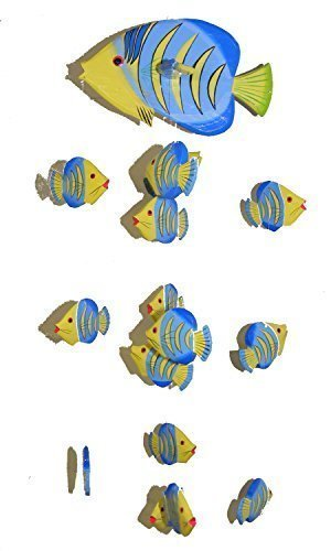 (One World is Enough Yellow Kissing Fish Mobile from Bali with 16 Hand Painted Fish - Suitable for Children - Fair Trade)