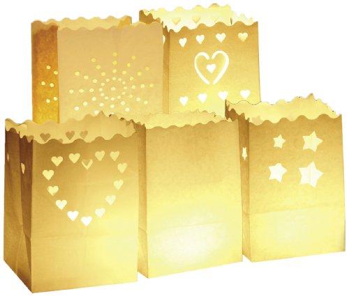 Wenko 8551100 Luminaria - Bolsas Decorativas para Velas (10 Unidades, Papel, 11 x 16 x 9 cm), Color Blanco