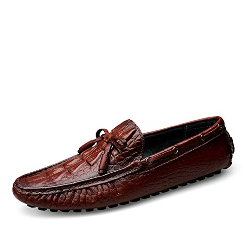 Zapatos de Barco de lujo Driving Loafers for Herren Bootsschuhe Slip on Kunstleder Erfahren Genäht Anti-Crash Fersenschleife Dekoration Lug Sole Faux Crocodile Skin QingYG-BB -