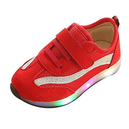 (Oyedens Kinder Baby Mädchen Jungen Striped Mesh LED Leucht Sport Lauf Sneaker SchuheKinder LED Flash Schuhe Sneakers helle Lichter Schuhe Mesh Schuhe gestreifte Mesh Schuhe)