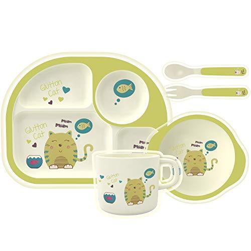 HOMEWINS Set da Cucina in bambù per Bambini, Set di 5 Pezzi Vasellame Pasto Coperto BPA Gratuito Servizio di Cena Piatto Ciotola Tazza Cucchiaio Forchetta (Gatto)