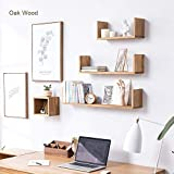INMAN HOME Eiche Massiv Holz U Form Floating Wandregal Storage CD Rack Bücherregal Bild Regal, rustikal Holz Wand Display Dekoration, Eichenholz, Eiche, 61 cm (24 Zoll)