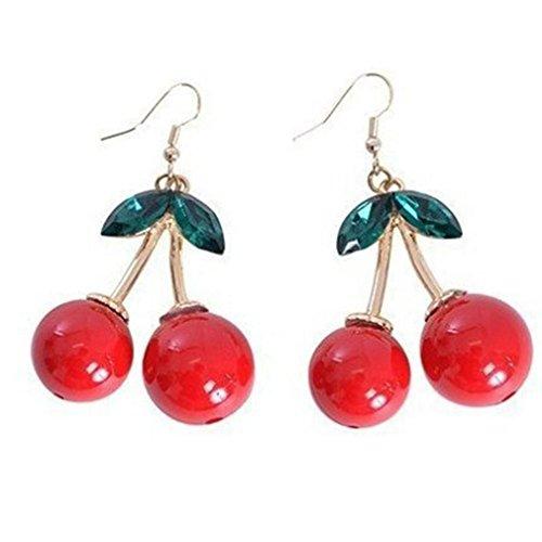 Paolian Cristal de cerise Boucles doreilles Drop Bijoux mignons pour les femmes fille (Rouge)