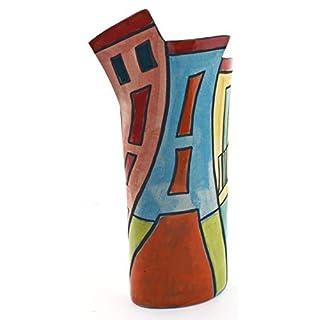 Dekorative Keramikvase, handgefertigt und Handbemalt, mit mehrfarbigem Foc-Art-Dekoration. 14940 - Large Vase House Nº2