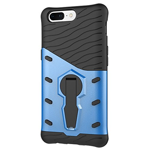 Heavy Duty Armor Denfender Back Cover 360 ° Drehbarer Stand Shockproof Case 2 in 1 PC + TPU Shell Cover für OnePlus 5 ( Color : Silver ) Blue