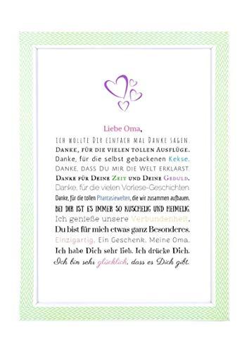 Danke Oma - Danksagung für Oma Bild optional mit Rahmen - Geschenk Geschenkidee Geburtstag Oma Kunstdruck DIN A4