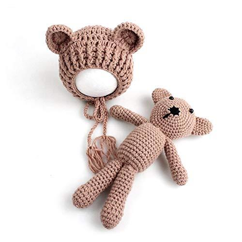 Kaffee Kostüm Baby - Säugling Baby Stricken Häkeln Mützen Hut mit Puppe Spielzeug Set Neugeborenes Baby Mädchen Fotografie Prop Outfit Kleidung Kostüm-Kaffee Farbe-1 Größe