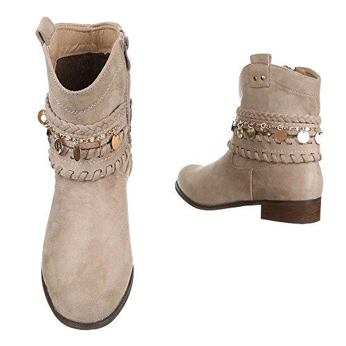 Cowboy- / Westernstiefeletten Damenschuhe Blockabsatz Western Ital-Design Stiefeletten Beige