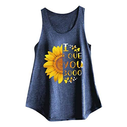Darringls Sommer Damen T-Shirt Sun Flower Print Ärmelloses Tanktop