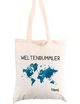 privatewear Baumwollbeutel Weltenbummler mit Wunschnamen