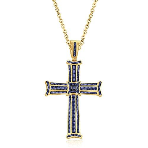 silvernshine Jewels 3Reihe 14K Gelb Gold FN Tansanit CZ Diamanten Micro pave Kreuz Anhänger Halskette (Kreuz Tansanit Halskette)