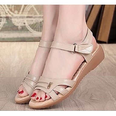 RTRY Donna Sandali Comfort Vacchetta Estate Casual Marrone Scuro Beige Piatto Nero US5.5 / EU36 / UK3.5 / CN35