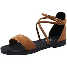 Sandalias planas de mujer ❤️ Amlaiworld sandalias de mujer con plataformasandalias mujer verano 2018 vestir chanclas de señoras Zapatos de planas Zapatos de playa Calzado zapatillas Mujer sneakers cuñas mujer (Amarillo, 37)