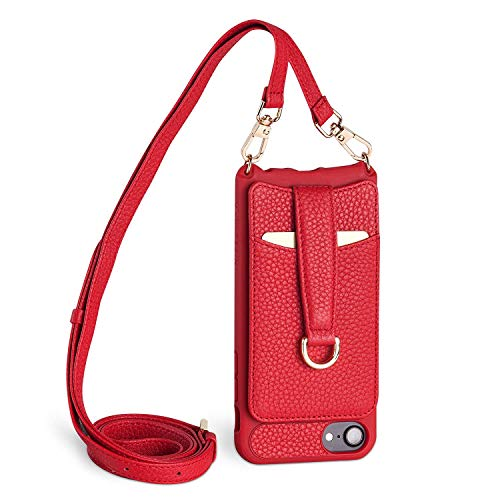 Vaultskin Victoria Crossbody Wallet Case For iPhone 6/7/8 Red Gold