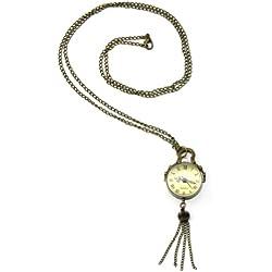 "Antique Bronze Necklace Pendant Ball Clock Watch 1.06"""