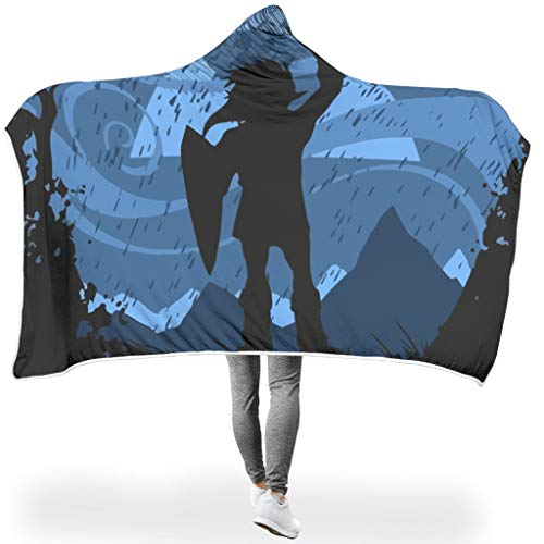 NiTIAN jugendlich Zelda ThemeHome Hooded Throw Wrap Nacht Microfaser weich sanft Wohndecke Kuscheldecke Winter Computer Creative Cloak Für Kinder White 150x200cm