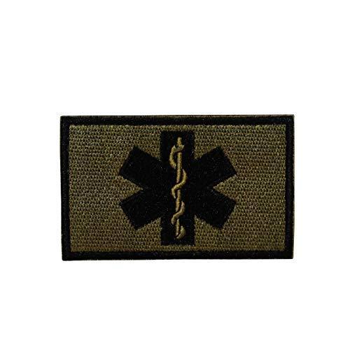 Cobra Tactical Solutions Paramedic Star of Life Bestickt Softair Paintball Patch ... (Schwarz/Grün)