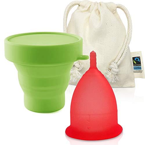 CozyCup Menstruationstasse CLASSIC - Made in Germany mit Reinigungsbecher und fairtrade Bio Beutel (Größe 1, Rot)