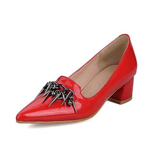 AgooLar Damen Ziehen Auf Mittler Absatz Pu Leder Rein Spitz Zehe Pumps Schuhe Rot