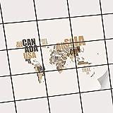 creatisto Fliesendekoration Dekorationssticker   Fliesen-Folie Sticker Aufkleber Selbstklebend Badezimmer renovieren Küche Wall Art   25x20 cm Design Motiv World Map - Braun - 9 Stück