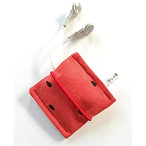 Aufbewahrungstasche mit Gummiband, kleines Etui, Kopfhörertasche, Earplug, Earpod, USB Stick Tasche, Bag, Täschchen. Kleines Geschenk. Rot Wassermelone