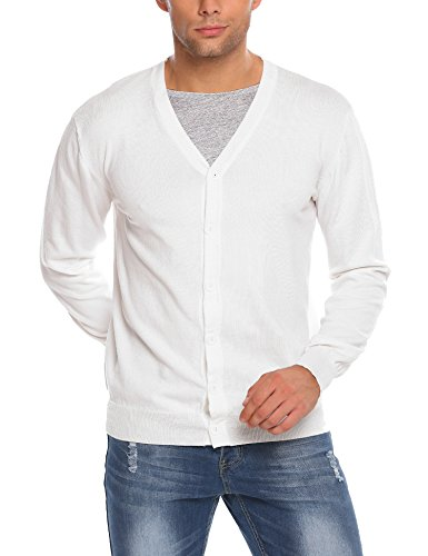 Coofandy Herren Strickjacke Cardigan mit V-Ausschnitt Knit Jacket Elegant Casual Angenehm Aus Baumwollmischung Weiß M (Weiße Herren Strickjacke)