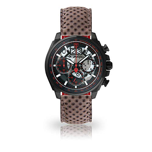 DETOMASO LIVELLO Mens Wristwatch Chronograph Analogue Quartz Dark Grey Leather Strap Black dial DT2060-B-846