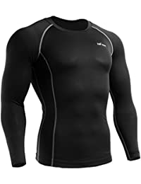 emFraa Homme Femme MMA Sport Compression Black Tight Base layer T-Shirt Long sleeve S~XL