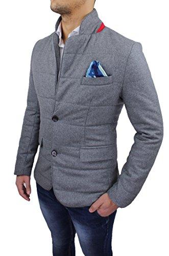 Giacca cappotto uomo invernale grigio slim fit giubbotto trench casual elegante in lana (S)