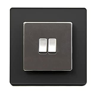 Single Light Switch Surround Acrylic Finger Plate Panel Socket MORE COLOURS – 25% OFF WHEN YOU BUY 2 OR MORE (Black Frost)