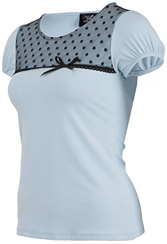Küstenluder CHARLSIE Nostalgic Polka Dots TULLE Vintage Pin Up Shirt Rockabilly -