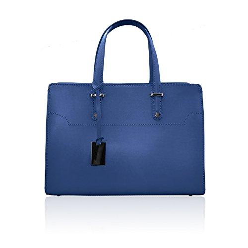HILLARY Borsa cartella in pelle liscia con accessorio dark nikel blu