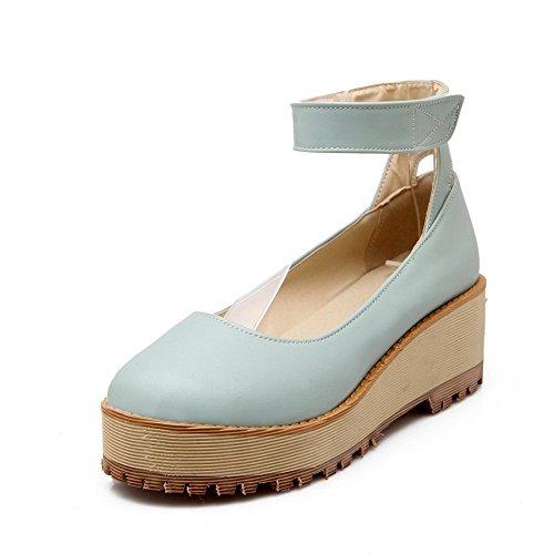 AgooLar Damen Mittler Absatz Weiches Material Rein Haken-Und-Loop Rund Zehe Pumps Schuhe Blau