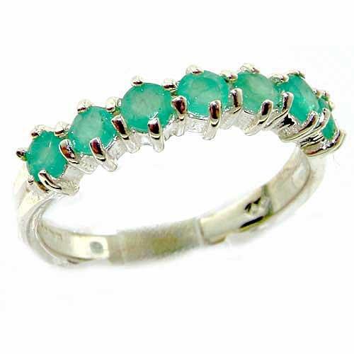 Anello Donna in Oro bianco 9K (375) con Smeraldo 1 carati - Taglia 21.5 - Altro Taglie disponibili