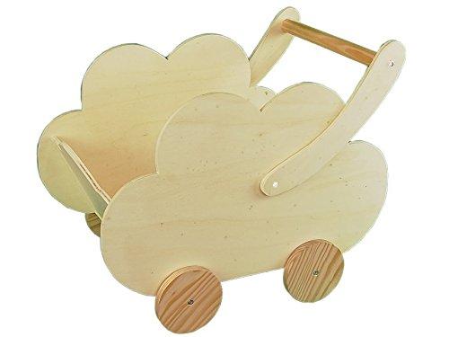 Greca Carro Infantil Madera. En Forma Nube. En Crudo