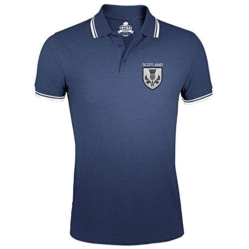FunkyShirt Trybal Schottland Rugby Distel Logo Bestickt Polo Shirt Herren 6Nationen Gr. X-Large, Marineblau (Bestickte Print-rugby)