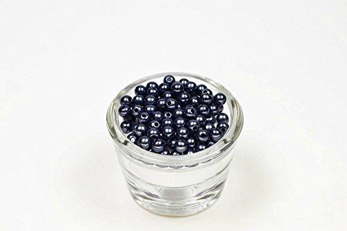 Perle 100 Rondes Plastique 6 mm de diametre (Bleu Marine 370)