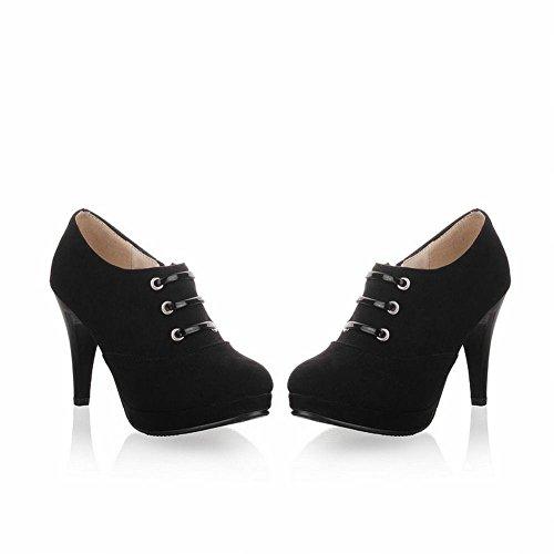 Mee Shoes Damen elegant modern bequem Reißverschluss Trichterabsatz runder toe Nubukleder Geschlossen Plateau Pumps Schwarz